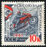 Motorcycle. RUSSIA - CIRCA 1961: stamp printed by Russia, shows Motorcycle race, circa 1961 stock images