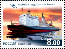 RUSSIA - CIRCA 2009: A stamp printed in Russia, shows Nuclear Ice-Breaker. Taimyr, circa 2009 stock image