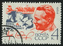 Postage stamp printed by Russia. RUSSIA - CIRCA 1964: stamp printed by Russia, shows portrait Arkadi Gaidar, circa 1964 Stock Photography
