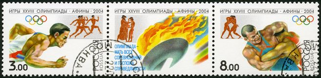 RUSSIA - 2004: shows 2004 Summer Games Olympics, Athens. RUSSIA - CIRCA 2004: A stamp printed in Russia shows 2004 Summer Games Olympics, Athens, circa 2004 Royalty Free Stock Photo