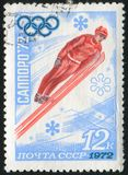 Ski jump. RUSSIA - CIRCA 1972: stamp printed by Russia, shows 11th Winter Olympic Games, Ski jump, circa 1972 Stock Image