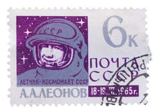 RUSSIA - CIRCA 1965: stamp printed by , shows Col. Alexei. RUSSIA - CIRCA 1965: stamp printed by Russia, shows Col. Alexei Leonov, circa 1965 royalty free stock photography