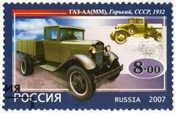 RUSSIA - 2007: shows GAZ-AA, MM, series the history of Russian m Royalty Free Stock Photography