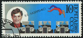 Postage stamp printed by Russia. RUSSIA - CIRCA 1989: stamp printed by Russia, shows Lazarenko, acrobat and clown, circa 1989 Stock Images