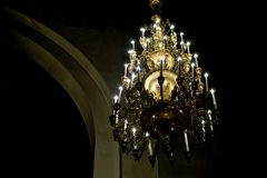 Russia, city of Magnitogorsk, - January, 7, 2019. Chandelier in the night Orthodox church stock photo