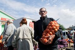 Russia, city of Magnitogorsk, - September 3, 2018. Elderly man stock image