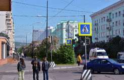 Russia. The city of Murmansk.Lenin Avenue. The Image of the city Stock Photos