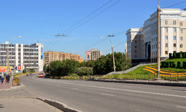 Russia. The city of Murmansk.Lenin Avenue. The Image of the city Royalty Free Stock Photo