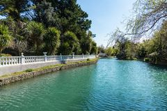 Russia city of Sochi Adler district park Southern cultures. Pond with reflection of trees.  stock photo