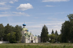 Russia, the city of Tikhvin. Orthodox monastery. Gate Church. Blue sky. Summer Stock Images