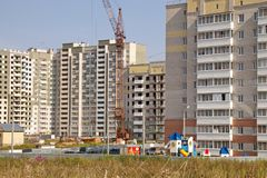Russia.City of Vologda, construction of new apartment buildings 5th district 2018 royalty free stock photo