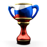 Russia colored trophy Cup. 3d rendering Royalty Free Stock Photos