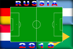Russia 2018 Conceptual Background. Russia 2018 Conceptual Soccer (Football / Futbol) Tournament Background Stock Photo