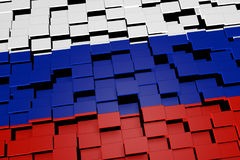 Russia country flag background formed from digital mosaic tiles, 3D rendering Stock Photo