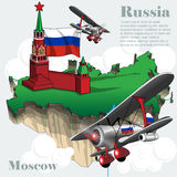 Russia country infographic map in 3d. With country shape flying in the sky with clouds, flying airplanes, red star. Digital vector image Stock Images