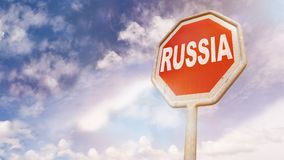 Russia country name on stop sign Royalty Free Stock Image