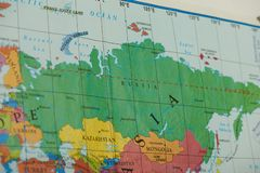Russia country on paper map. Close up view stock photos