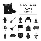 Russia country set icons in black style.   Royalty Free Stock Photos