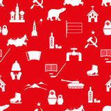 Russia country theme symbols icons seamless pattern Stock Photo