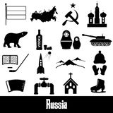 Russia country theme symbols stickers set Royalty Free Stock Photography