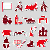 Russia country theme symbols stickers set eps10 Stock Photography