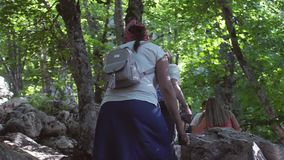 Russia, Crimea, 3 july 2017. Tourists walk along the path in the jungles. Mountain trail in the jungle. slow motion stock video