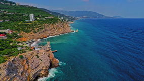 Russia, Crimea, Yalta, swallow's nest (Aerial Drone flights) stock video