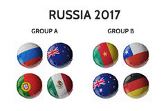 Russia cup 2017. Football/soccer balls. Set of 3d soccer balls with flags Royalty Free Stock Photography
