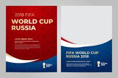 Russia 2018 Cup. Template. FIFA World Cup Russia 2018. Layout template design stock illustration