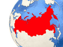 Russia on 3D globe. Map of Russia on globe with watery blue oceans and landmass with visible country borders. 3D illustration Stock Photography