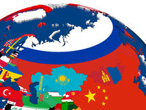 Russia on 3D map with flags Royalty Free Stock Images
