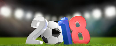 2018 Russia 3D render symbol soccer stadium. Illustration Stock Photography