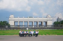Russia Day celebration. MOSCOW, RUSSIA - JUNE 12: Day of Russia celebration. Musicians playing in the Gorky Park, Moscow. Taken on June 12, 2012 in Moscow Stock Images