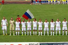 Russia deaf team. The russian deaf national team during the anthem in the deaf world cup football match italy vs russia played at eboli in italy royalty free stock photography