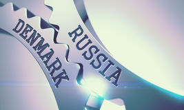 Russia Denmark - Message on the Mechanism of Shiny Metal Cogwheels. 3D. royalty free illustration