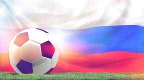 Russia design soccer football ball 3d with green grass. Russia design soccer football ball 3d rendering with green grass meadow blades of grass and russian flag Royalty Free Stock Images