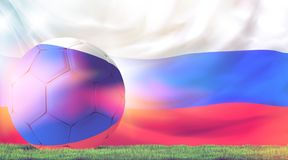 Soccer football ball 3d rendering green grass meadow blades. Russia design soccer football ball 3d rendering with green grass meadow blades of grass and russian Royalty Free Stock Images