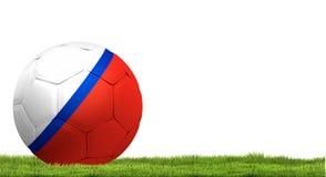 Russia design soccer football ball russian 3d rendering with gre. Russia design soccer football ball russian 3d with green grass meadow blades of grass Stock Photography