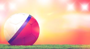 Russia design soccer football ball russian orange 3d rendering w. Ith green grass meadow blades of grass illustration image design Royalty Free Stock Images