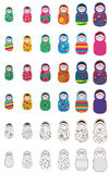 Russia doll set. This illustration is drawing 12 Russia doll with isolated object set on white color background Royalty Free Stock Photos