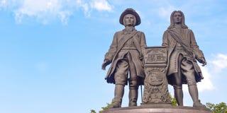 Russia . Ekaterinburg . Monument to Vasily Tatischev and Wilhelm de Gennine Stock Image