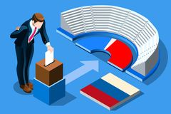 Russia Election Russian Vote Infographic. Russia election voting concept Russian man putting vote in the isometric ballot box. Vector illustration with 3D flat vector illustration