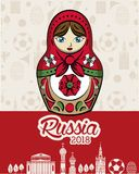 Russia 2018 emblem design. Vector illustration graphic design Royalty Free Stock Photo