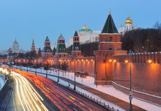 Russia. Ensemble of Moscow Kremlin. View on Kremlin wall and towers from Bolshoi Moskvoretsky bridge at a sunrise Stock Photography