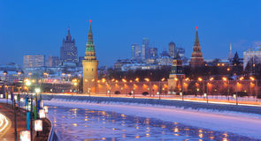Russia. Ensemble of Moscow Kremlin at night. Russia. Ensemble of Moscow Kremlin and Moskva-City business center view across Moskva river at a winter night stock photos