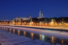 Russia. Ensemble of Moscow Kremlin at night Royalty Free Stock Photos