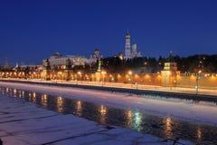 Russia. Ensemble of Moscow Kremlin at night. Russia. Ensemble of Moscow Kremlin view across frozen Moskva river at a winter night royalty free stock photos