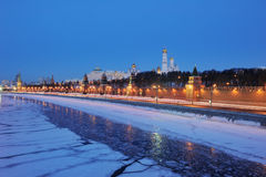 Russia. Ensemble of Moscow Kremlin view at night. Russia. Ensemble of Moscow Kremlin view across Moskva river at a winter night. Wide panorama Stock Images