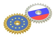 Russia and EU flags on a gears, 3D rendering Stock Photos