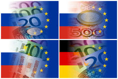 Russia eu germany flags with euro banknotes Royalty Free Stock Photos